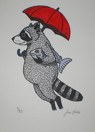 Raccoon Hand Painted Gocco Print