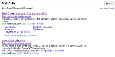 谷歌在搜索结果中添加新的被黑网站提示