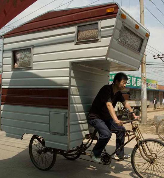 超酷野外露营人力三轮房车