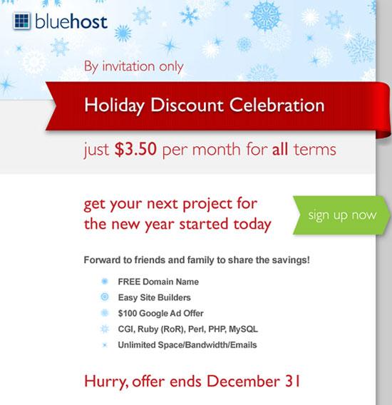 Bluehost主机大优惠 3.50美元/月