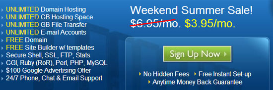 Bluehost 主机 Weekend Summer 大促销 3.95美元/月